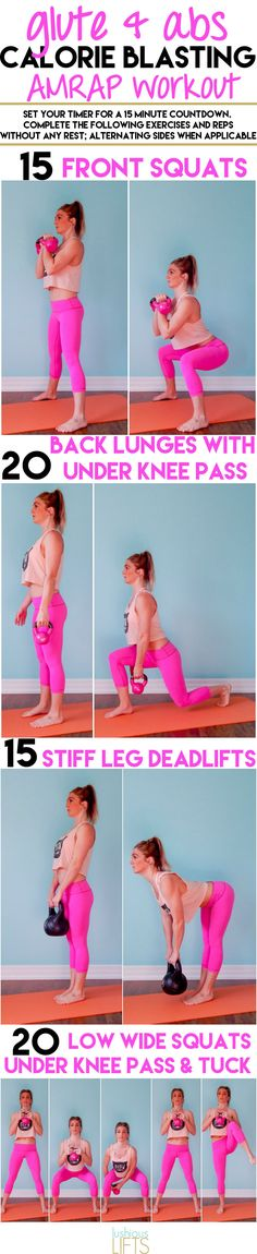 15 minutes of Calorie Blasting while working on the Glute and Abs!! AMRAP #Workout || lushiouslifts.com