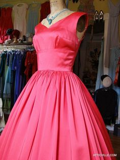 1950s Red Satin Ball Gown from The Attic Vintage Clothing.