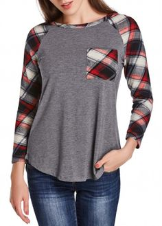Grey Round Neck Long Sleeve Plaid T Shirt  on sale only US$22.40 now, buy cheap Grey Round Neck Long Sleeve Plaid T Shirt  at lulugal.com