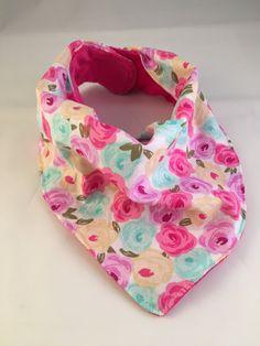 Rose Bandana Bib/Drool Bib/Baby Bib/Teething Bib/Baby Bandana/Baby Girl/Hot Pink Minky Fabric by OccasionalGoods on Etsy