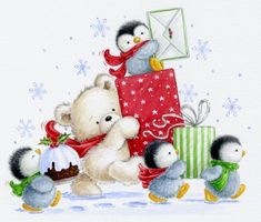 Christmas pictures by Jessie Christmas Teddy Bear, Noel Christmas, Christmas Animals, Christmas Pictures, Winter Christmas, All Things Christmas, Vintage Christmas, Christmas Ornaments, Illustration Noel
