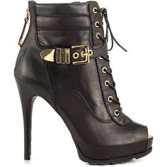 Show off your style status in the Bieinda. This Guess boot features a black leather upper with lace up vamp, side buckle and back zipper. A peep toe allows you…