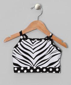 Butterfly TREASURES White Zebra Sports Bra - Girls by Dance Class