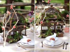 Birdcage Centerpieces-with the branches