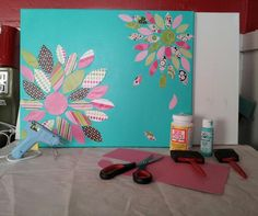Used 16x20 canvas, but any size can be used. Got the idea from a different pin, but modified my design. For best results, only use cardstock. I got all my supplies @ Hobby Lobby. Scrapbook cardstock book of 60 sheets on sale for 50% off (paid $10), set of 2 16x20 canvases ($7.99), matte Mod Podge 8oz (leftover but paid $4.99), 1- 2oz bottle acrylic paint ($1.27), pack of 3 foam brushes ($1.49), mini hot glue gun & sticks- used about 3 (already had, but about $8 for gun and 50 sticks), & scis... Canvas Ideas, Canvas Art, Sheets On Sale, Scrapbook Paper, Scrapbooking, Foam Paint Brush, Craft Corner, Glue Gun, Coloring Sheets