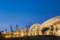 Dome-shaped structures enclose the Taoyuan Sewage Treatment Project in Taiwan, designed by Habitech Architects to resemble mountains, with a waterfall Sewage Treatment, Landscape Architecture, Taiwan, Architects, Waterfall, Fair Grounds, Urban, Mountains, Gallery