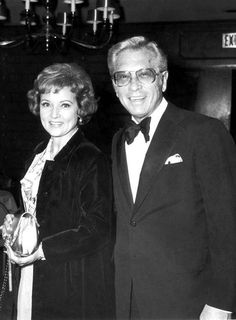 Betty White and her husband  Allen Ludden at an international broadcasting awards dinner tribute to  Mary Tyler Moore.   March 19, 1974