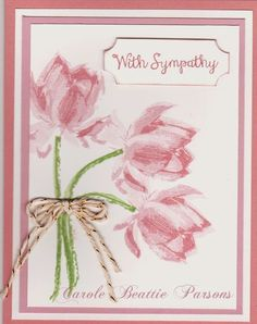 This stamp set produces the most gorgeous flowers. Yes, I did a few cards with this color combination yesterday, but I looked in my c...