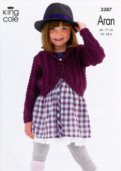 Cabled Cardigans in King Cole Fashion Aran (3387) | Girls Knitting Patterns | Knitting Patterns | Deramores