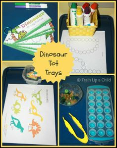 Tot trays with a dinosaur theme and a focus on the letter Dd.