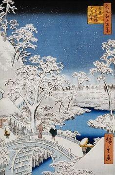 Drum Bridge and Setting-Sun Hill, Meguro Giclee Print by Ando Hiroshige