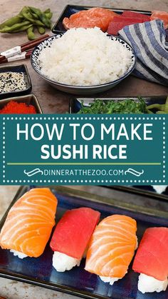 This sushi rice is a simple blend of rice, sugar, vinegar and salt that makes the perfect foundation for any type of sushi, or a side dish to a Japanese style meal. Making sushi at home is fun and easy to do, and your family and friends will be impressed with the end result! Sushi Rice Recipes, Fish Recipes, Veggie Recipes, Lunch Recipes, Asian Recipes, Dinner Recipes, Drink Recipes, Best Side Dishes, Side Dish Recipes