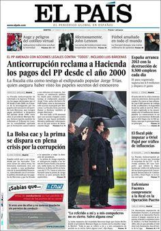 Los Titulares y Portadas de Noticias Destacadas Españolas del 5 de Febrero de 2013 del Diario El País ¿Que le parecio esta Portada de este Diario Español?
