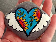 You give my heart wings / painted rock / Sandi Pike Foundas / Cape Cod/ Beach Stone / I love you / heart