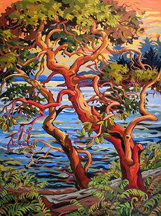 Celebrating 44 years in Canadian art Canadian Painters, Canadian Artists, Landscape Art Quilts, Landscape Paintings, Landscapes, Arbutus Tree, Pintura Country, Tree Art, Painting Inspiration