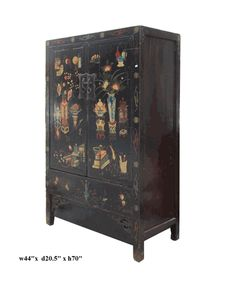 Chinese Lacquer Vase Graphic Armorie Storage Cabinet - Golden Lotus Antiques 650-522-9888 goldenlotusinc@yahoo.com #interior #furniture #oriental #Asiancabinet