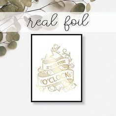 It's Coffee O Clock Print // Real Gold Foil // Minimal //