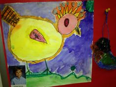 Close up of Folk Art Bird Drawing and Painting