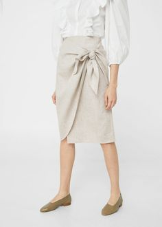 Knot linen skirt -  Women | MANGO USA