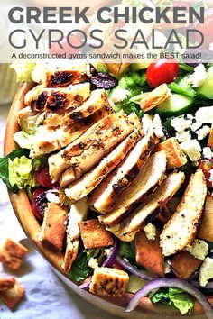 A deconstructed gyros sandwich makes the BEST Greek salad! I was dreaming of a quick and healthy salad loaded with Greek inspired flavors, so I threw together this Gyros Salad with Chicken and we can't get enough of it! Easy Bbq Recipes, Best Chicken Recipes, Healthy Salad Recipes, Greek Recipes, Turkey Recipes, Lunch Recipes, Seafood Recipes, Vegetarian Recipes, Vegetable Taco Recipe