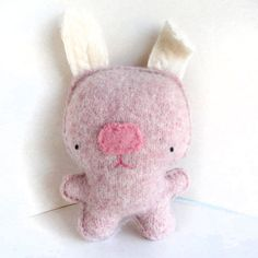 Pink Rabbit Recycled Wool Sweater Plush Toy by sighfoo on Etsy Pink Rabbit, Bunny Rabbit, Rabbit Names, Small Stuff, Embroidery Thread, Wool Sweaters, Some Fun, Hand Stitching, Primitive