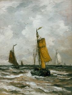 Hendrik Willem Mesdag (Groningen 1831-1915 Den Haag) Returning barges - Dutch Art Gallery Simonis and Buunk Ede, Netherlands.