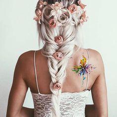 Rainbow Watercolor Compass Back Shoulder Tattoo Ideas for Women - arco iris acuarela brújula atrás tatuaje ideas - www.MyBodiArt.com #tattoos