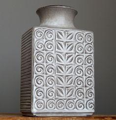 Vintage 60-70 s CARSTENS Grey Rectangular Vase West German Pottery Fat Lava Er