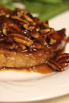 Honey Pecan Pork Chops.. I used coconut flour in place of the cornstarch and used Raw honey