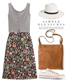 """Floral Printed Skirt 1765"" by boxthoughts ❤ liked on Polyvore featuring RED Valentino, Merona, Converse and Janessa Leone"