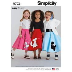 Poodle Skirts | Poodle Skirt Costumes, Patterns, History Simplicity 8774 Childrens and Girls Costumes K5 (Sizes 7-8-10-12-14) $11.37 AT vintagedancer.com