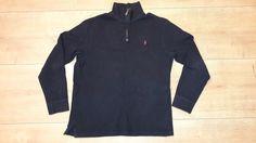 Mens POLO by RALPH LAUREN Polo Shirt Long Sleeve Jumper Sweater Navy Blue Size L #RalphLauren #PoloShirts