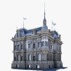 Ancient Mansion Model available on Turbo Squid, the world's leading provider of digital models for visualization, films, television, and games. Neoclassical Architecture, Baroque Architecture, Chinese Architecture, Beautiful Architecture, Architecture Details, Building Drawing, 3d Building, Architecture Blueprints, Planet Coaster