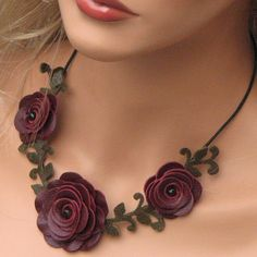 Flower leather necklace choker, burgundy roses, moss green leaves on black leather cord Etsy.