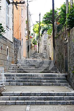 Narrow Old Pathway Stone Buildings Stock Image - Image of sides, town: 92246323 Pathway Stone, Dubrovnik Croatia, Pathways, Buildings, Stairs, Stock Photos, Wall, Image, Rock Path