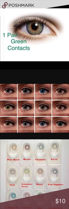 "1 Pair FreshLook Green Colored Contacts 1 Pair Reusable  2 pair =$18  3Pair = $27  ""FreshLook Colorblends contact lenses offer a wide palette of beautiful colors to enhance your eye color in a natural way.   Non Prescription. Cosmetic Only.   Expiration: 2020-03 Diameter: 14.5 Price per box: 1 box = 1 pair Shipping: Same day or Next day  Available colors:  Blue, Brilliant Blue, turquoise, true Sapphire, green, gemstone Green, pure Hazel,honey, Gray, Sterling Gray Nike, Victoria Secret Makeup"
