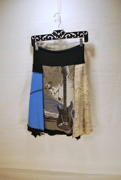 Recycled tee shirt skirt  with yoga pant style waistband size large by oreomocha on Etsy. Use coupon code 'springtime' now to save 20%. Good until 2/28.