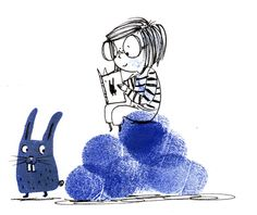 Reading - Ella Okstad #kid #child #reading #rabbit #cute #fingerprint #inktober #penandink #ink #blackandwhite #blueandwhite #monochrome #childrensbook #illustration #kidlit #kidlitart #kidlitartist #kidsbooks #booksforkids #raiseareader #sharestories #books #read #teaching #resources #learning #teacher #art #illustrator #bookstagram #instaart #draw #sketch #sketchbook