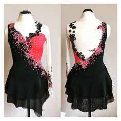 Figure skating dress for a tango themed skating program by Kelley Matthews Desig. Ice Dance Dresses, Ice Skating Dresses, Figure Skating Outfits, Figure Skating Costumes, Girls Dance Costumes, Dance Outfits, Tango, Clothes, Roller Derby