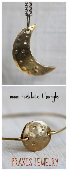 Moon bangle and necklace from Praxis Jewelry