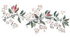 Magnolia Buds Flower Border Wall Stencil by DeeSigns