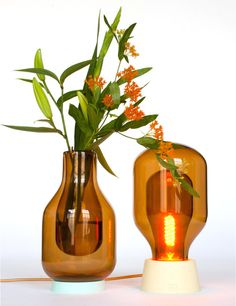 Glass lamps and vases, which have double walls like a Thermos flask. //admired by http://www.truelatvia.com