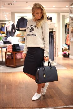 how to wear sneakers and a skirt
