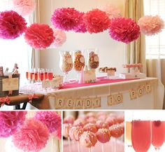 "pretty pink table and decor, different kinds of popcorn for a ""ready to pop"" shower"