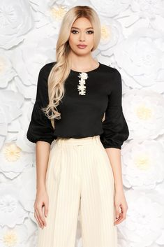 StarShinerS black women`s blouse with tented cut thin fabric with puffed sleeves office, tented cut, puffed sleeves, 3/4 sleeves, thin fabric