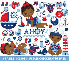 ITEM: Nautical Baby Girl Clipart - Vector Nautical Clipart, Baby Clipart, Newborn Clipart, African American Clipart, Nautical Baby Girl Clip Art for Personal and Commercial. Baby Girl Clipart, Baby Shower Clipart, Nautical Clipart, Mermaid Clipart, Girls Clips, American Baby, My Son Birthday, Nautical Baby, Nautical Style