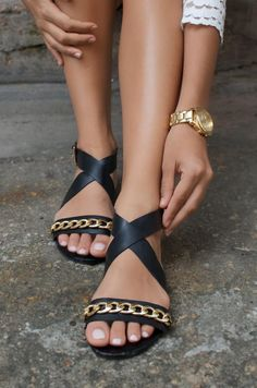 This DIY is an awesome way to amp the basic black sandal.