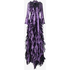 Gucci Iridescent Organdy Ruffle Gown (€9.060) ❤ liked on Polyvore featuring dresses, gowns, long dresses, gown, maxi dress, purple, purple cocktail dresses, long purple dress, long gown and long maxi dresses