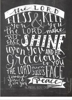 This is such an awesome verse in chalkboard style! The Lord Bless you and keep you... You could send this as a birthday card or just because...it is blank inside,,add you own message and hit send!  This is a real card (not an e-card). Send this card now.