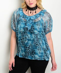 Another great find on #zulily! Blue Sheer Cheetah Button-Front Top - Plus #zulilyfinds